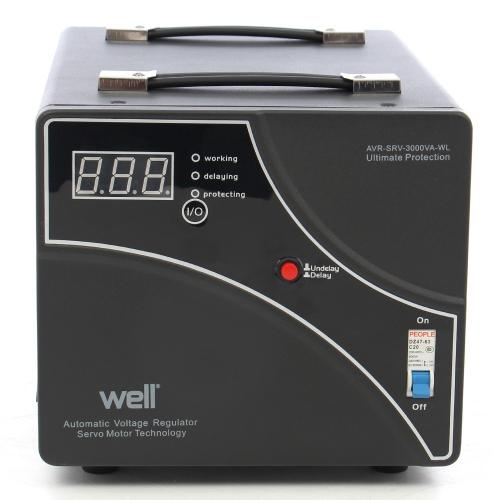 Stabilizator automat de tensiune cu servomotor WELL AVR-SRV-XTREME3000-WL, 3000VA/1800W, afisaj digital