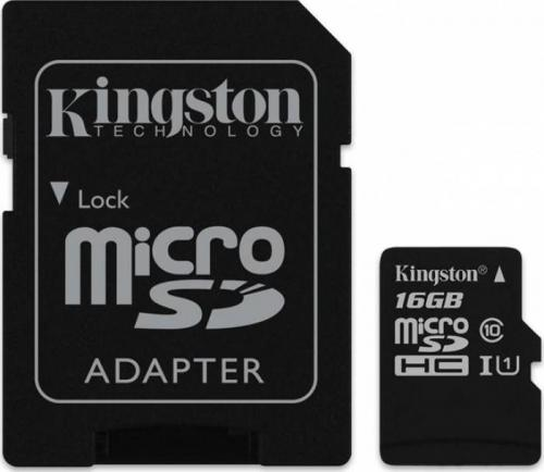 Card de memorie Kingston, 16GB, Clasa 10 + Adaptor SD