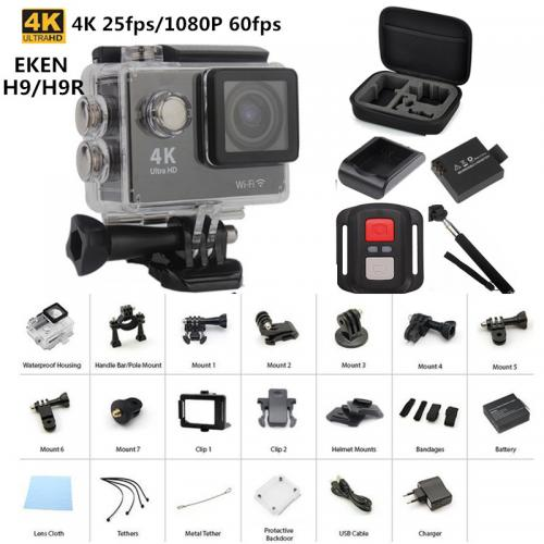 "Camera Sport Action EKEN H9R, Ultra HD 4K, 12MP, inregistrare 4K@25fps, lentile 170gr, display 2"" LCD, Wi-Fi, waterproof 30m, telecomanda, negru"