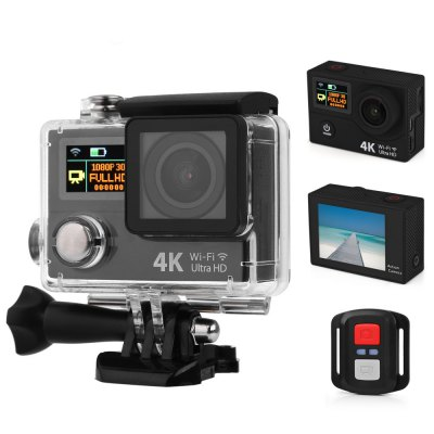"Camera Sport Action EKEN H3R, Ultra HD 4K, 12MP, inregistrare 4K@25fps, lentile F2.0 170gr, display 2"" LCD + 0.95"" OLED, Wi-Fi, waterproof 30m, telecomanda wireless, negru"