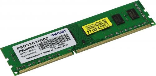 Memorie Patriot PSD32G16002, 2GB DDR3, 1600MHz, CL11