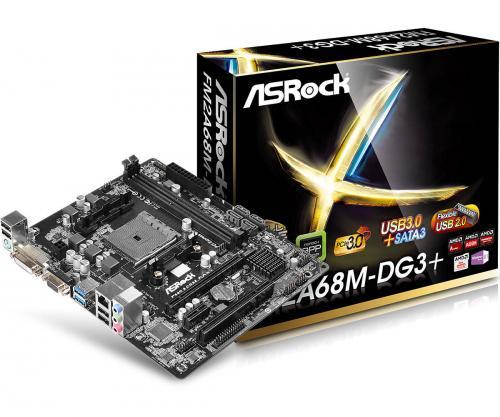 Placa de baza ASRock, FM2A68M-DG3+, FM2+, 2xDDR3, D-Sub/DVI, Micro ATX, retail