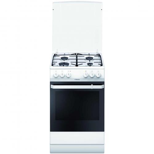Aragaz Hansa FCMW580009, Alimentare gaz, 4 Zone de gatit, Cuptor 65 l, alb