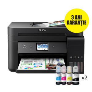 Multifunctional inkjet color CISS Epson L6190, A4, printare, copiere, scannare, fax, 15ppm, duplex, ADF, USB2.0, LAN, wireless, negru