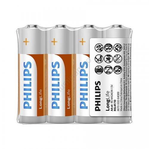 Baterii Philips LongLife AA 4-foil w/ sticker