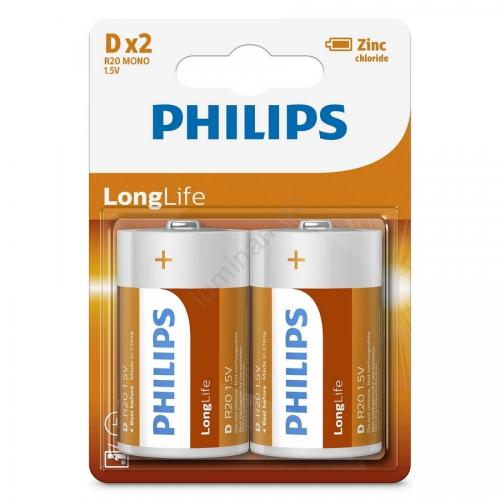 Baterii Philips LongLife D 2-blister