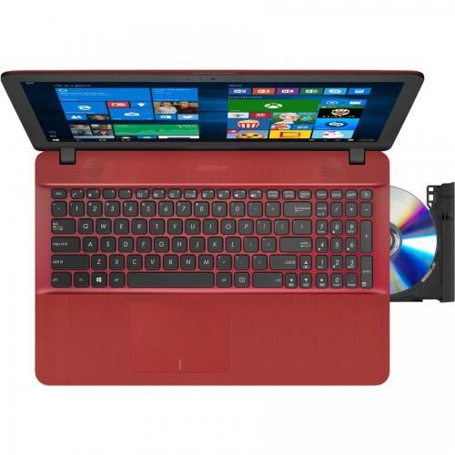 Notebook ASUS X541NA-GO009, 15.6 HD LED, Intel Celeron Dual Core N3350 pana la  2.4GHz, RAM 4GB DDR3L, HDD 500GB, video integrat Intel HD, DVDRW, rosu, DOS