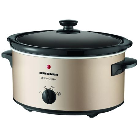Slow Cooker Heinner HSCK-C35CR, 3.5 L, 135 W, 2 Setari temperatura, Timer, Auriu
