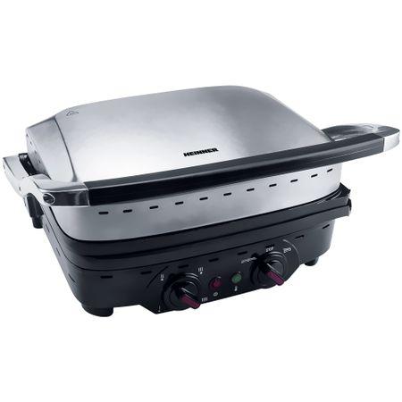 Gratar electric Heinner Master Collection HEG-1800XMC, 1800 W, Functie pastrare la cald, 230 x 290 mm, Argintiu/Negru