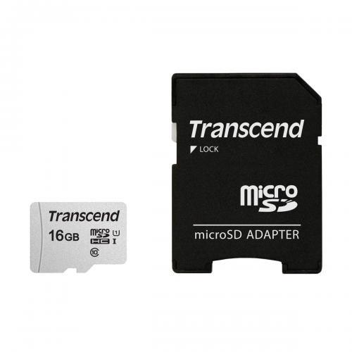Card de memorie Transcend TS16GUSD300S-A, 16GB, Clasa 10 + adaptor SD