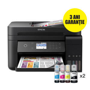 Multifunctional inkjet color CISS Epson L6170, A4, printare, copiere, scannare, 15ppm, duplex, ADF, USB2.0, LAN, wireless, negru