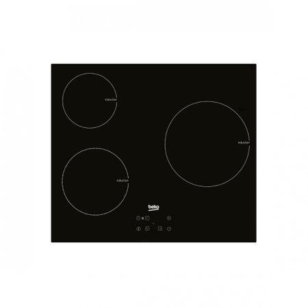 Plita incorporabila Beko HII63400AT, Inductie, 3 zone gatit, Control touch, Afisaj LED, 60cm, Negru