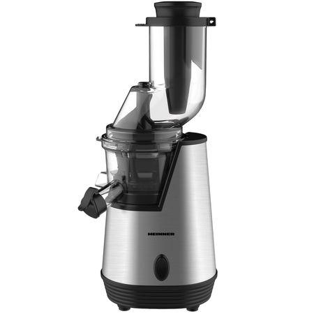 Storcator de fructe cu melc Heinner HSJ-200X, 200 W, 75 Rpm, Tub larg 80 mm, Recipiente fara BPA, Functie reverse, Inox