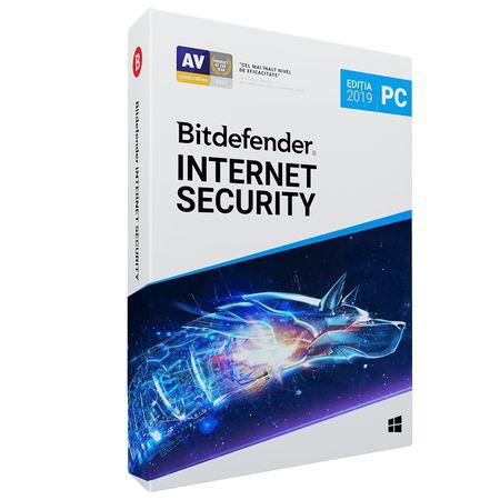 Licenta retail Bitdefender Internet Security 2019, noua, valabila pentru 1 an, 3 utilizatori