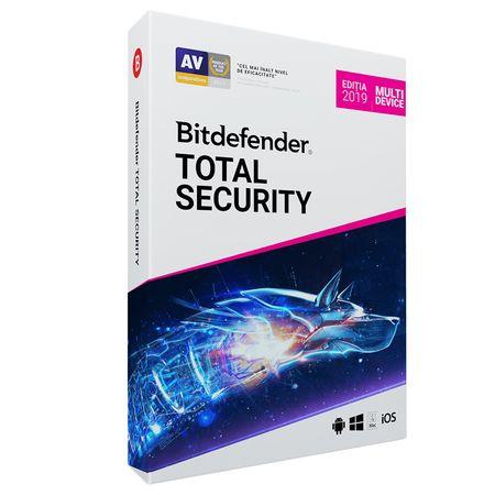 Licenta retail Bitdefender Total Security 2019, noua, valabila pentru 1 an, 3 utilizatori