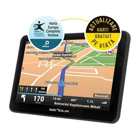 """GPS Serioux Urban Pilot UPQ700FE, 7.0"""" TFT (800x480), CPU Mstar2531 800MHz, RAM 256MB, memorie interna 8GB, FM, microSD , harta Full Europe"""