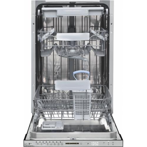 Masina de spalat vase Heinner HDW-FS4506DSA++, 10 seturi, clasa energetica A++, control electronic, display LED, 6 programe de spalare, Dark Silver