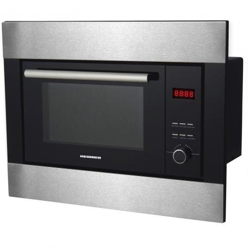 Cuptor cu microunde incorporabil Heinner HMW-23BIXBK, 23 l, 800 W, Digital, Grill, Negru cu decoratii silver