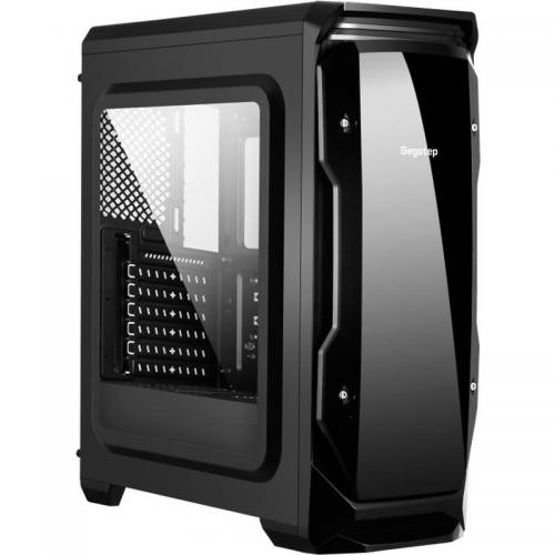 Carcasa Segotep Halo Black, ATX Mid Tower, fara sursa (tip ATX, montata jos) , 2 x 120 mm incluse, USB 2.0/3.0, negru