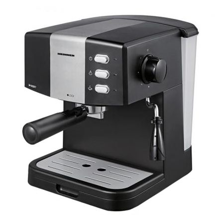 Espressor Heinner HEM-850BKSL, 850 W, 1.5 L, pompa presiune 15 bar, filtru dublu din inox, tavita scurgere detasabila, protectie supraincalzire, Negru/Argintiu