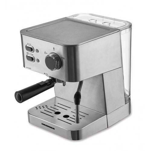Espressor Heinner HEM-1050SS,1050W, 1.5L, pompa presiune: 20 bar, preparare espresso si spuma de lapte, protectie supraincalzire, valva de siguranta presiune, tavita de scurgere detasabila, Argintiu