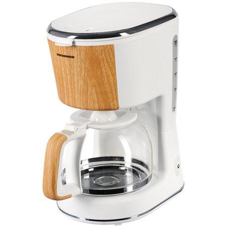 Cafetiera Heinner HCM-WH900BB, 900 W, 1.25 L, filtru detasabil si lavabil, anti-picurare, oprire automata, pastrare la cald, White/Wood