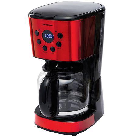 Cafetiera digitala Heinner HCM-D1500RDIX, 900 W, 1.5 L, Timer, Display Led, fara BPA, cana din sticla, filtru detasabil si lavabil,  functie anti- picurare, auto-oprire, Rosu/Negru
