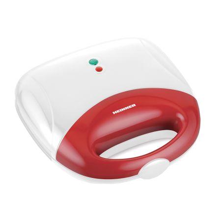 "Sandwich maker Heinner SM-700WHR, 750 W, placi antiadezive fixe tip grill, 2 sandwich-uri"", indicator luminos alimentare, Alb/Rosu"