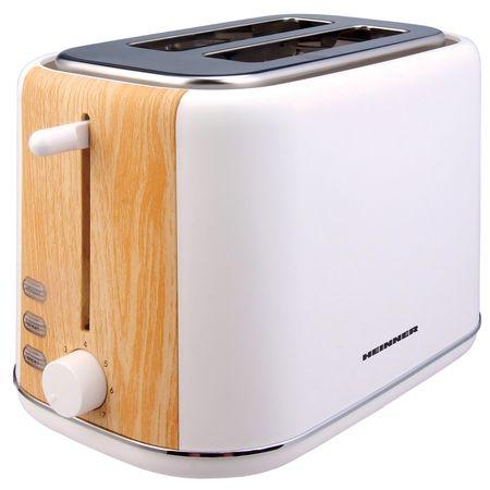 Prajitor de paine Heinner HTP-WH800BB, 800 W, 2 felii, dezghetare, oprire, reincalzire, 7 niveluri de rumenire, tavita pentru firimituri detasabila, functie auto- centrare, spatiu depozitare cablu alimentare, Alb/Wood