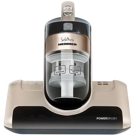 Aspirator canapele Heinner Sofa Mate 450 HCVC-M450G, 450 W, 0.4 L, 3 moduri de aspirare, perie rotativa 4.400 Rpm, lampa UV, functie antibacteriana, Maro