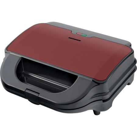 "Sandwich-maker Heinner Crispy Morning SM-2H900BKS, 900 W, placi detasabile anti-adezive XL, placi grill si waffles, capacitate: 2 sandwich-uri, indicator luminos ""gata de folosire"",, Rosu/Negru"