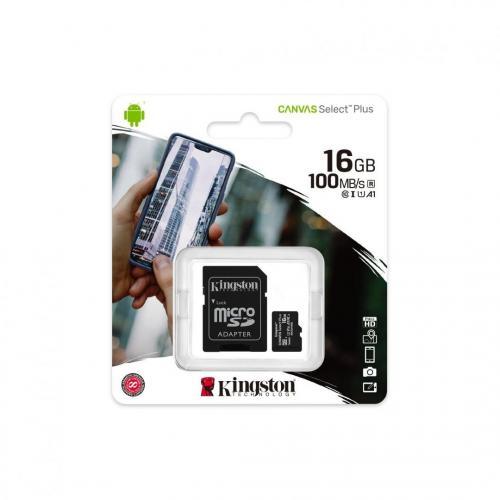 Card de memorie Kingston Canvas Select Plus 100R A1 C10 Single Pack SDCS2/16GBSP, 16GB, Clasa 10 + Single ADP