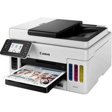 Multifunctional inkjet color CISS Canon Maxify GX6040, (Print, Copy, Scan, Cloud),  A4, 24 ppm alb-negru, 15.5 ppm color, duplex, ADF, USB, retea, WIFI