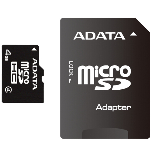 Card memorie A-Data Micro-SDHC 4GB Class 4, SD Adapter