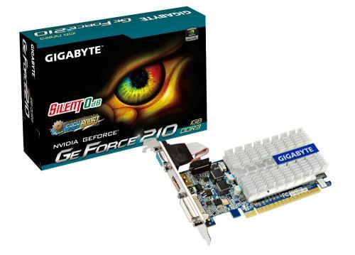 Placa video Gigabyte NVIDIA GeForce 210, PCI Express 2.0, 520/1200 MHz, 1GB GDDR3, 64 bit, DVI + VGA + HDMI,racire pasiva