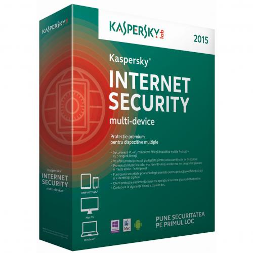 Licenta antivirus retail Kaspersky Internet Security 2015, 3 utilizatori, 1 an, renew, BOX