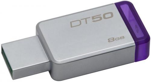 Memorie USB Kingston DataTraveler 50, 8GB, USB 3.1, Silver/Purple