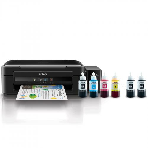 Multifunctional inkjet color CISS Epson L382, A4 (Printare, Copiere, Scanare), 10ppm alb-negru, 5ppm color, USB 2.0, negru