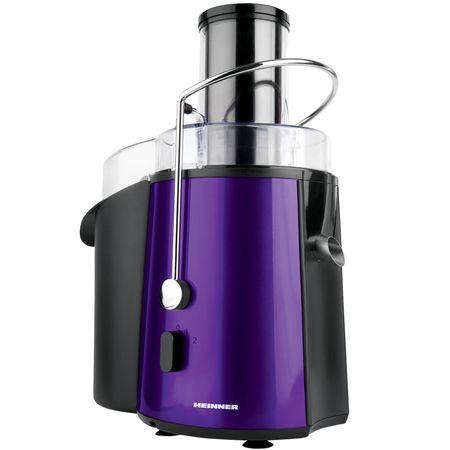 Storcator de fructe Heinner XF-1000UV, 1000 W, Tub XXL, Sita Inox, Recipient suc 1 L, Recipient pulpa 2 L, Violet