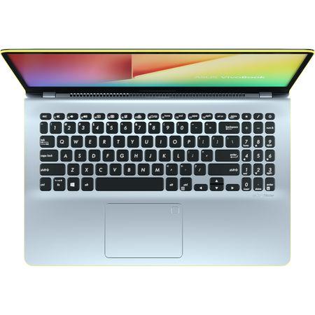 """Notebook ASUS S530FA-BQ005, 15.6"""" FHD, Intel Core I5-8265U 1.6GHz, Intel HD Graphics, RAM 8GB, SSD 256GB, Tastatura iluminata, Silver,/Yellow ENDLESS"""
